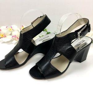 Michael kors Black Leather Wedges Sandals Size 8